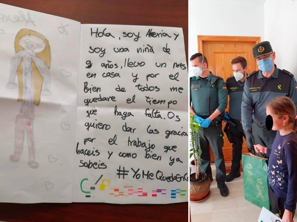Scrisoarea unei fetițe de 9 ani din Azuqueca de Henares către Garda Civilă