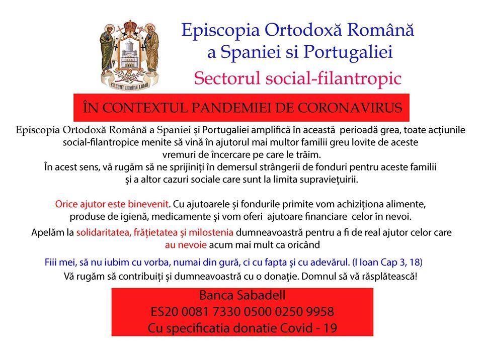 Comunicat al Departamentului Social-Filantropic din cadrul Episcopiei Ortodoxe Române a Spaniei și Portugaliei