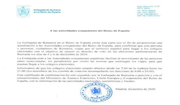 Document necesar deplasării fără restricții a cetățenilor români către/de la secțiile de votare din Spania