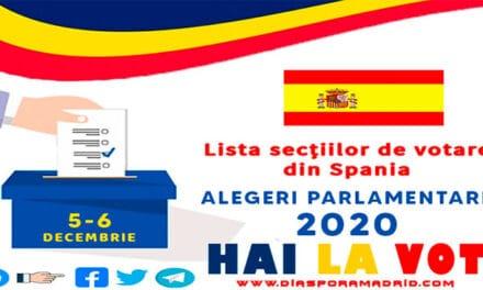 Lista secțiilor de votare în Spania pentru alegerile parlamentare din 5 și 6 decembrie 2020