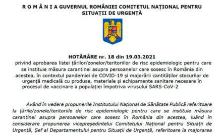 Spania, scoasă de pe lista ţărilor pentru care se impune carantina la sosirea în România, conform Hotărârii nr. 18 din 19.03.2021 a CNSU