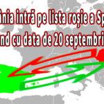 România intră pe lista roșie a Spaniei începând cu data de 20 septembrie 2021
